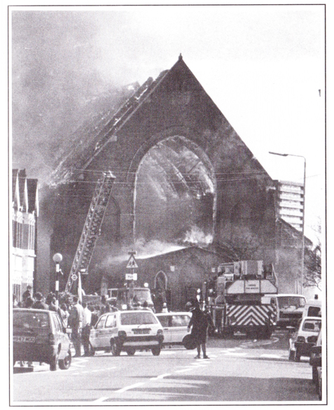 The fire which destroyed the old St George's on the 2nd April 1993